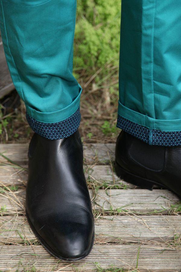Pantalon homme chino bleu chic fête couleur pas cher Jule 314362
