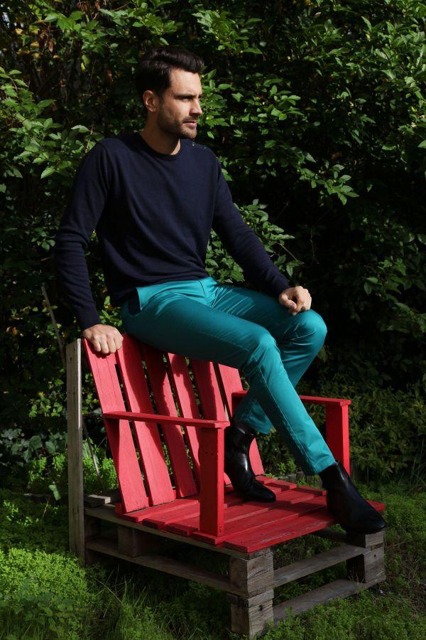 Pantalon homme chino bleu chic fête couleur pas cher Jule 314365