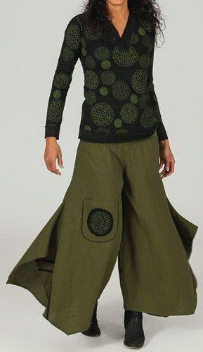 Pantalon large effet jupe ethnique Vert motifs noirs Anton 273656