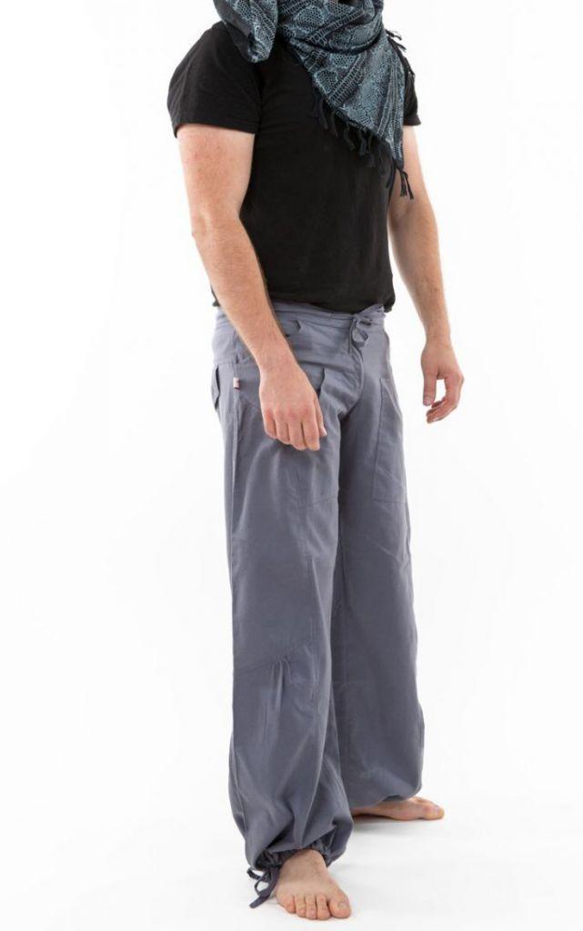 Pantalon large ethnique gris du Népal pour homme Duna 305555