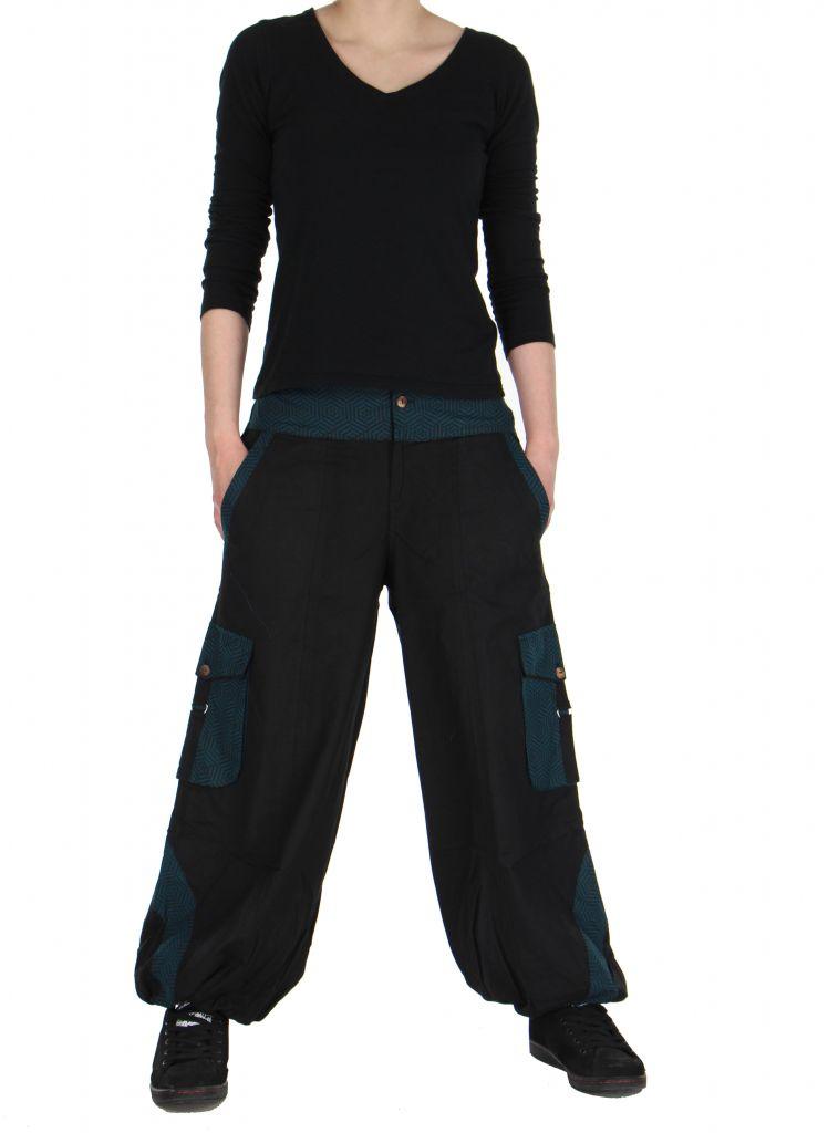 pantalon large mixte noir et bleu alex. Black Bedroom Furniture Sets. Home Design Ideas