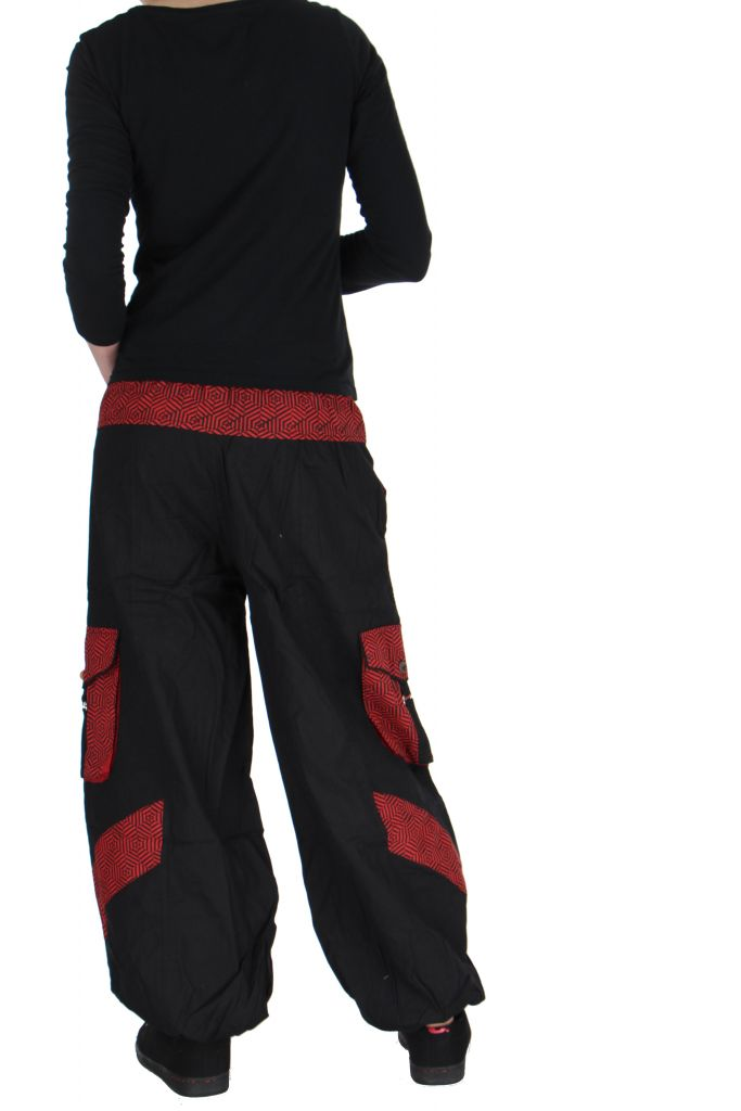 pantalon large mixte noir et rouge alex. Black Bedroom Furniture Sets. Home Design Ideas