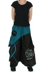 Pantalon large n�palais solan noir et bleu 261533
