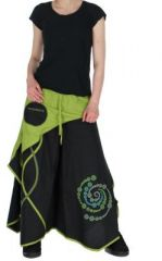 Pantalon large n�palais solan noir et vert 261531