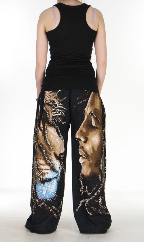 Pantalon rasta bob marley lion noir pour femme 271023
