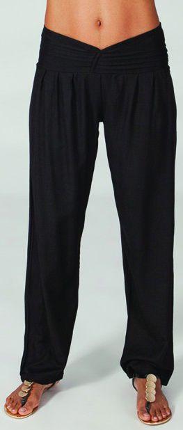 Pantalon taille basse pour Femme Ethnique et Original Giulio Noir 274708