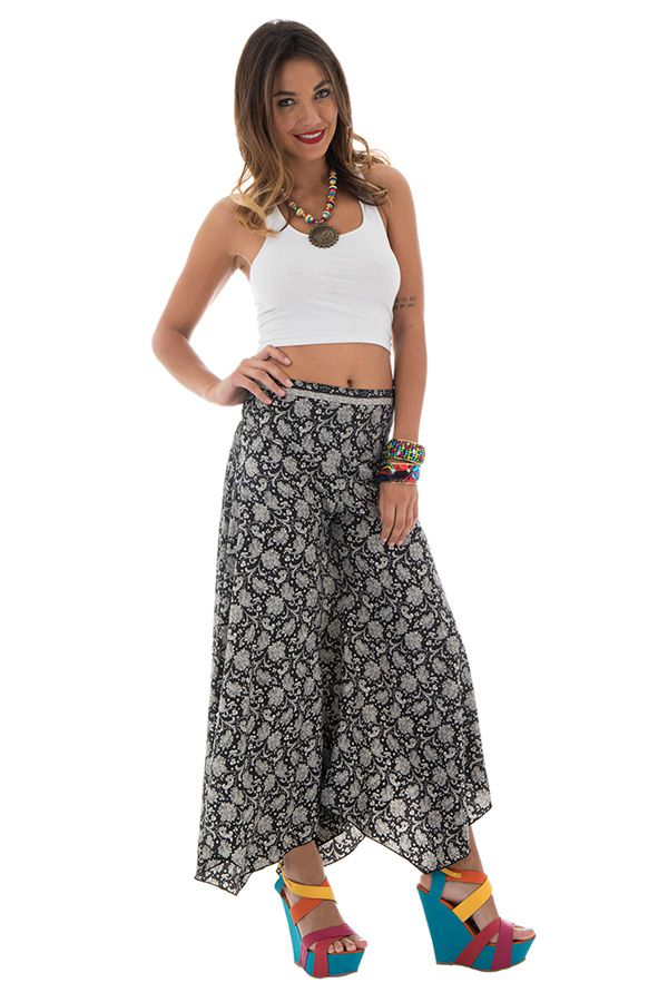 Pantalon tendance coupe asymétrique avec imprimés ethniques Britani 289651