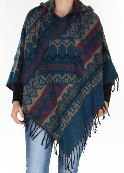 Poncho Homme ou Femme à capuche Original et Népalais Dharan Pétrole 277493