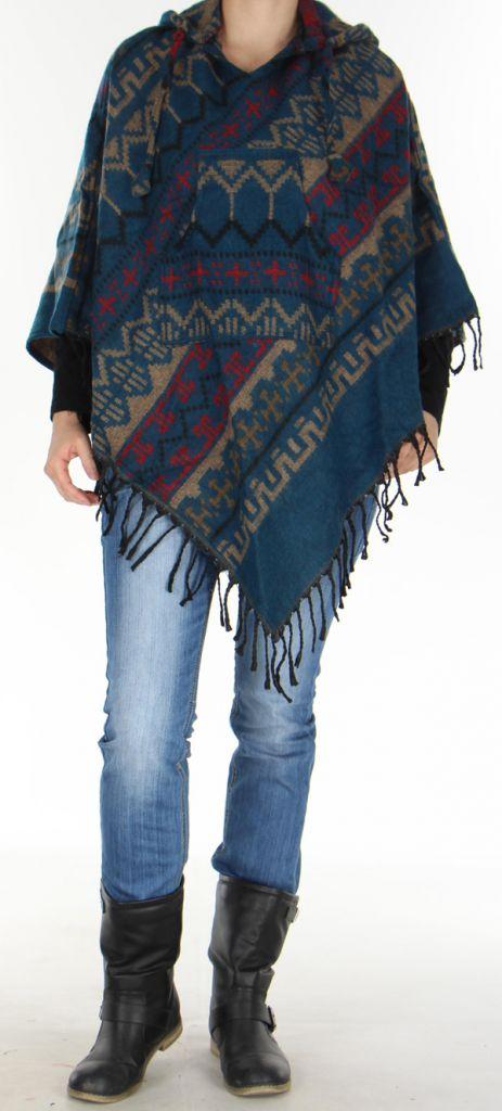 Poncho Homme ou Femme à capuche Original et Népalais Dharan Pétrole 277494
