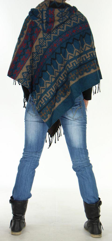 Poncho Homme ou Femme à capuche Original et Népalais Dharan Pétrole 277495