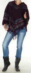 Poncho pour Femme tout doux Original et Ethnique Pokhara Prune 277596