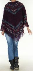 Poncho pour Femme tout doux Original et Ethnique Pokhara Prune 277597