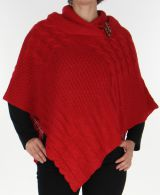 Poncho Rouge pour Femme uni Ethnique et Tendance Calomel 278089