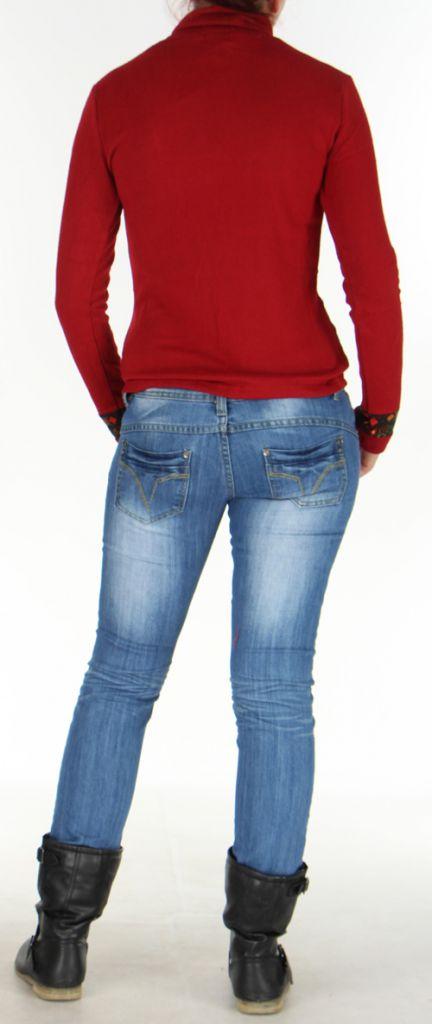 Pull Femme en maille Ethnique et Original Sully Rouge 276338