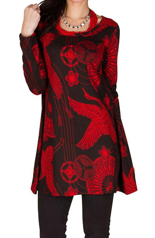 RLa Robe tendance courte imprimé de motifs asiatique Rouge Seven 301824