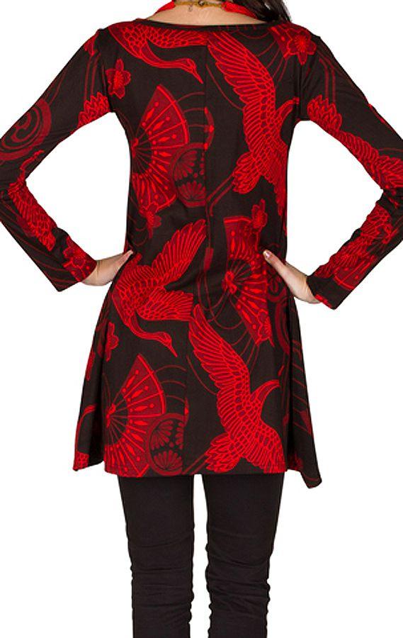 RLa Robe tendance courte imprimé de motifs asiatique Rouge Seven 301826