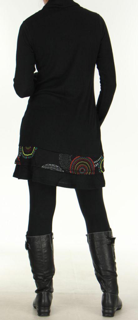 Robe à col cheminée Ethnique et Imprimée Tifaine Noire 276397