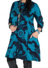 Robe a col rond courte tendance avec design Népalais Chokui 301321