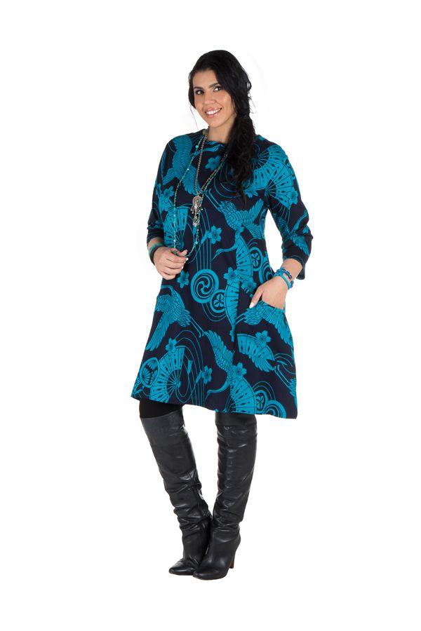 Robe a col rond courte tendance avec design Népalais Chokui 301322