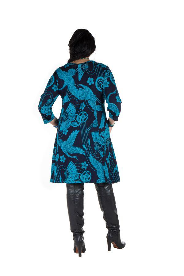 Robe a col rond courte tendance avec design Népalais Chokui