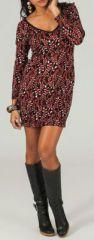 Robe à col rond et manches longues Originale et Imprimée Ainara 274213