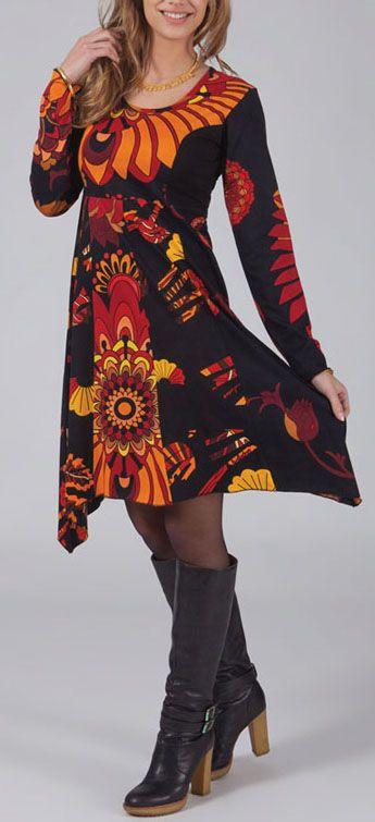 Robe à col rond Originale et Asymétrique Léona Noire 274968
