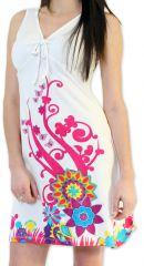 Robe à col V d'été Ethnique et Colorée Elenna Blanche 276930