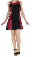 Robe � dos-nu ethnique noire et rouge Alida 268447