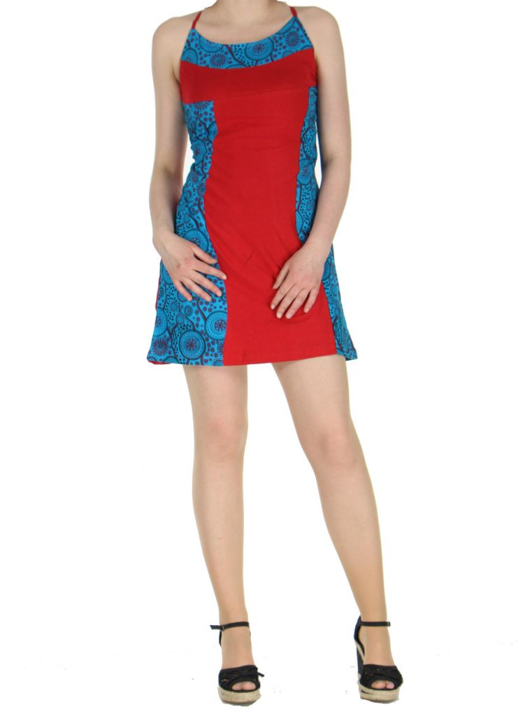 Robe à dos-nu ethnique rouge et bleue Alida 268449