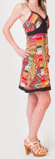 Robe à fines bretelles d'été Ethnique et Colorée Clarisa Orange 276895