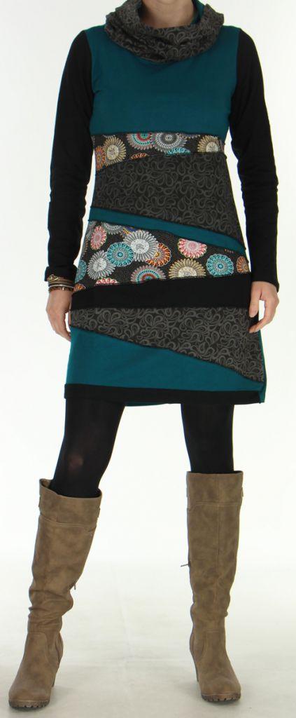 Robe à large col roulé Originale et Ethnique Samara Emeraude 276053