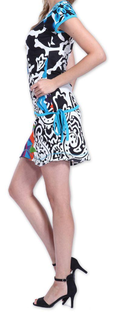 Robe à manches courtes Colorée et Originale Adellia Blanche 276478