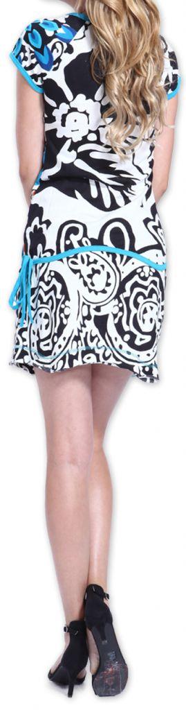 Robe à manches courtes Colorée et Originale Adellia Blanche 276479