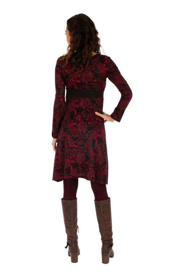 Robe à manches longues à col en V et imprimés roses Kandi 312732
