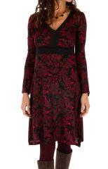 Robe à manches longues à col en V et imprimés roses Kandi 312733
