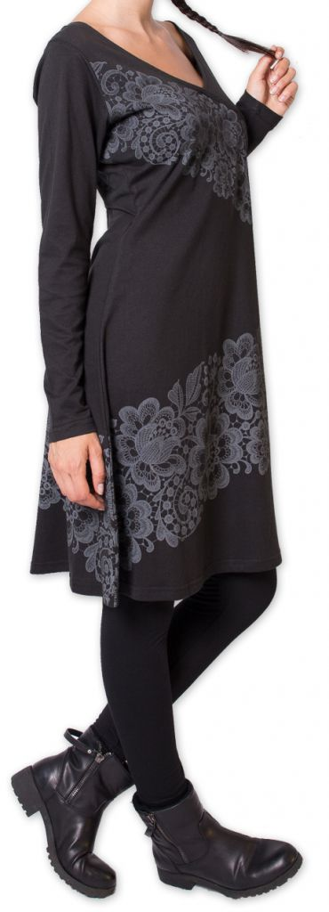 robe a manches longues ethnique et chic volgan noire. Black Bedroom Furniture Sets. Home Design Ideas