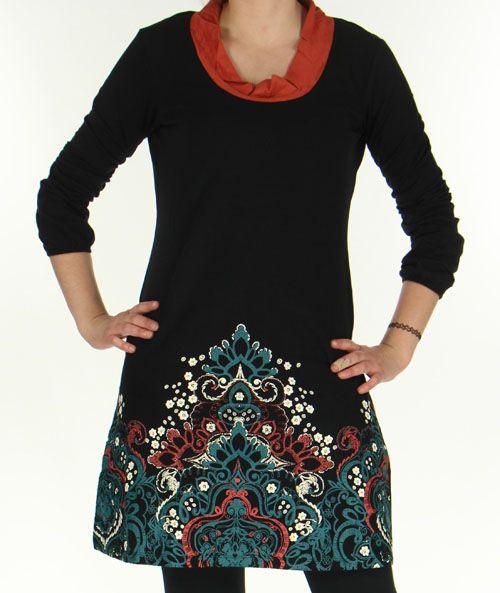 Robe à manches longues Ethnique et Originale Tesmine Noire 276380