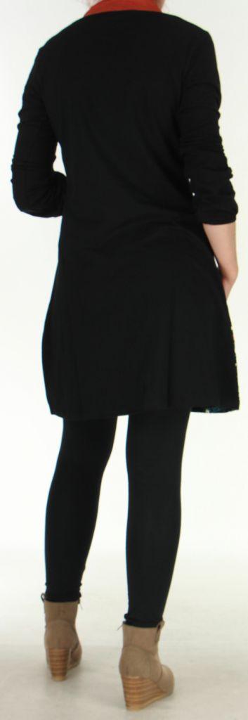 Robe à manches longues Ethnique et Originale Tesmine Noire 276382