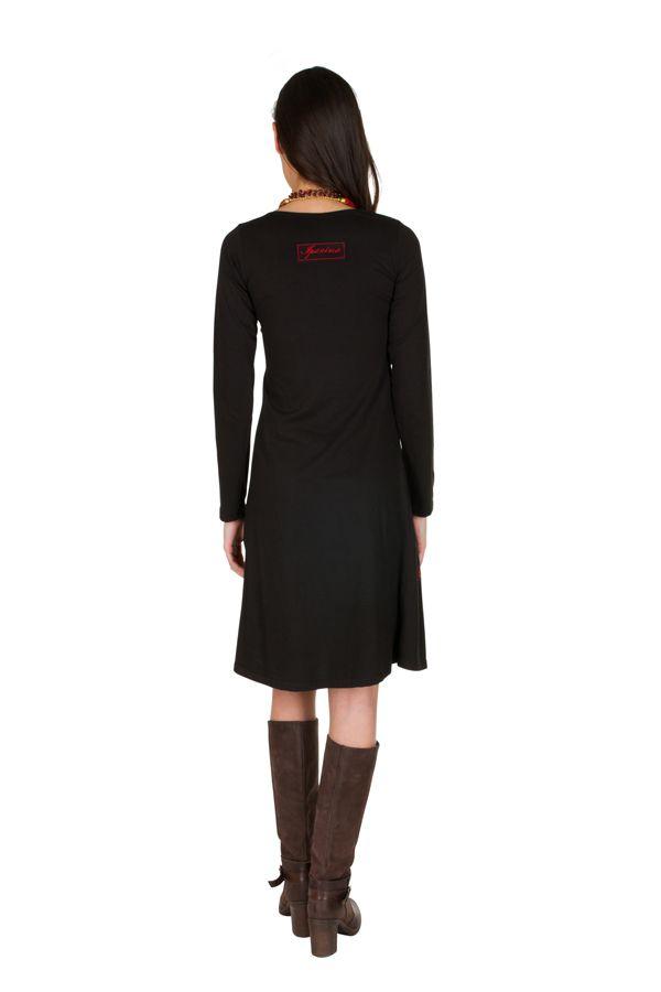 Robe à manches longues Noire mi-longue imprimée à col rond Bulle