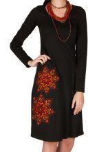 Robe à manches longues Noire mi-longue imprimée à col rond Bulle 301025