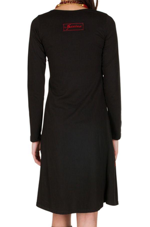 Robe à manches longues Noire mi-longue imprimée à col rond Bulle 301027