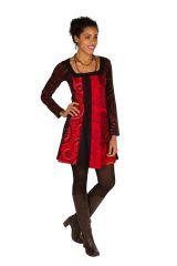 Robe à manches longues Rouge mi-cuisse avec imprimés originaux Sofia 300854