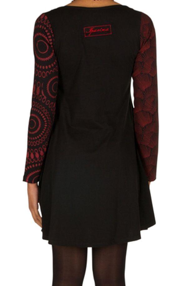 Robe à manches longues Rouge mi-cuisse avec imprimés originaux Sofia 300857