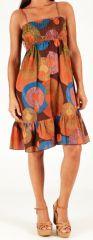 Robe à smock et fines bretelles Originale et Colorée Zalou Marron 279454