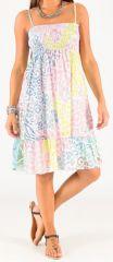 Robe à smock et fines bretelles Originale et Colorée Zalou Pastel 279455