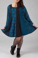 Robe ample grande taille imprim�e � manches longues Am�lie 274479