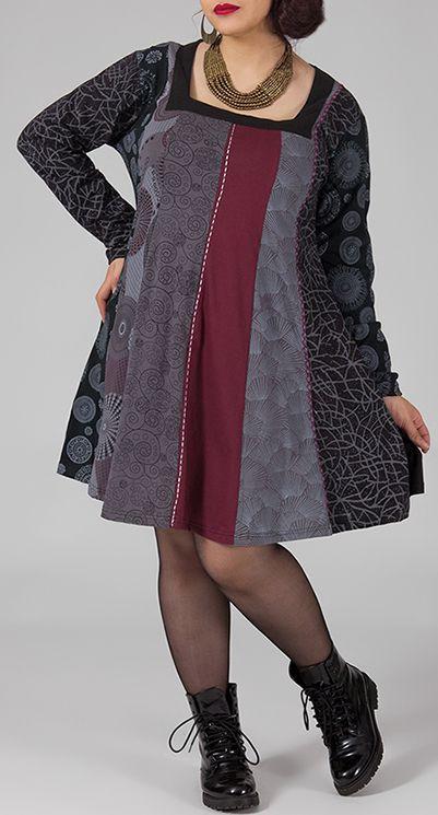 Robe ample grande taille imprimée à manches longues Audrey