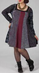 Robe ample grande taille imprim�e � manches longues Audrey