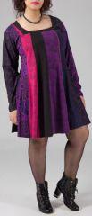 Robe ample grande taille imprim�e � manches longues No�mie