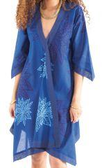 Robe Asymétrique forme Kimono Originale et Ethnique Kashia Bleue 281968